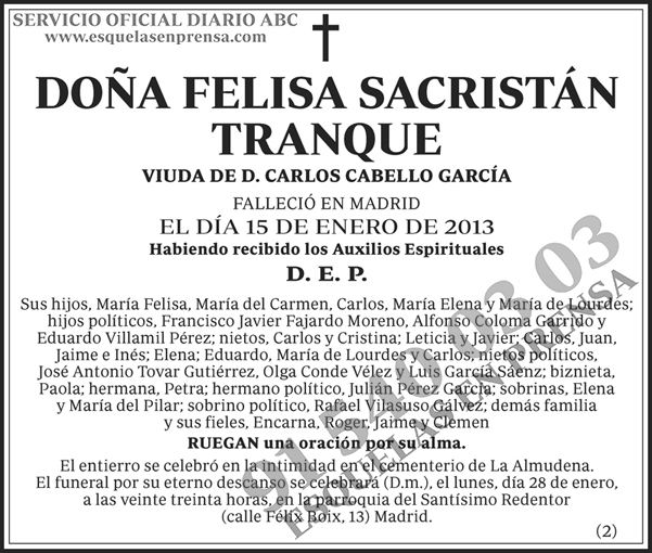 Felisa Sacristán Tanque